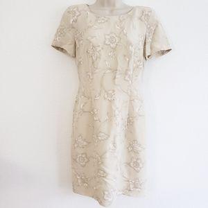 Escada Vintage Cream Floral Silk Sheath Dress